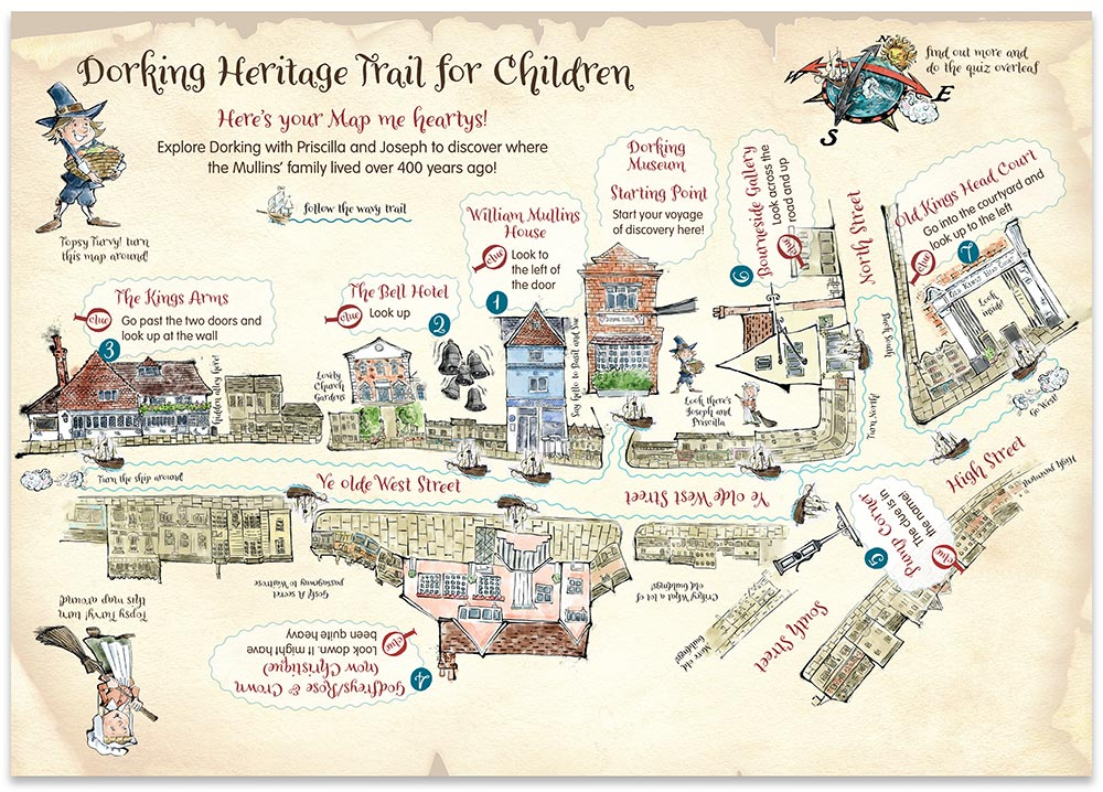 Dorking Heritage Trail for kids map  - front