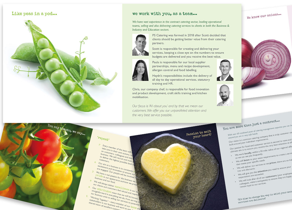 PS Catering - marketing collateral sample spreads