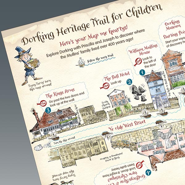 Dorking Heritage Trail for kids map - thumbnail